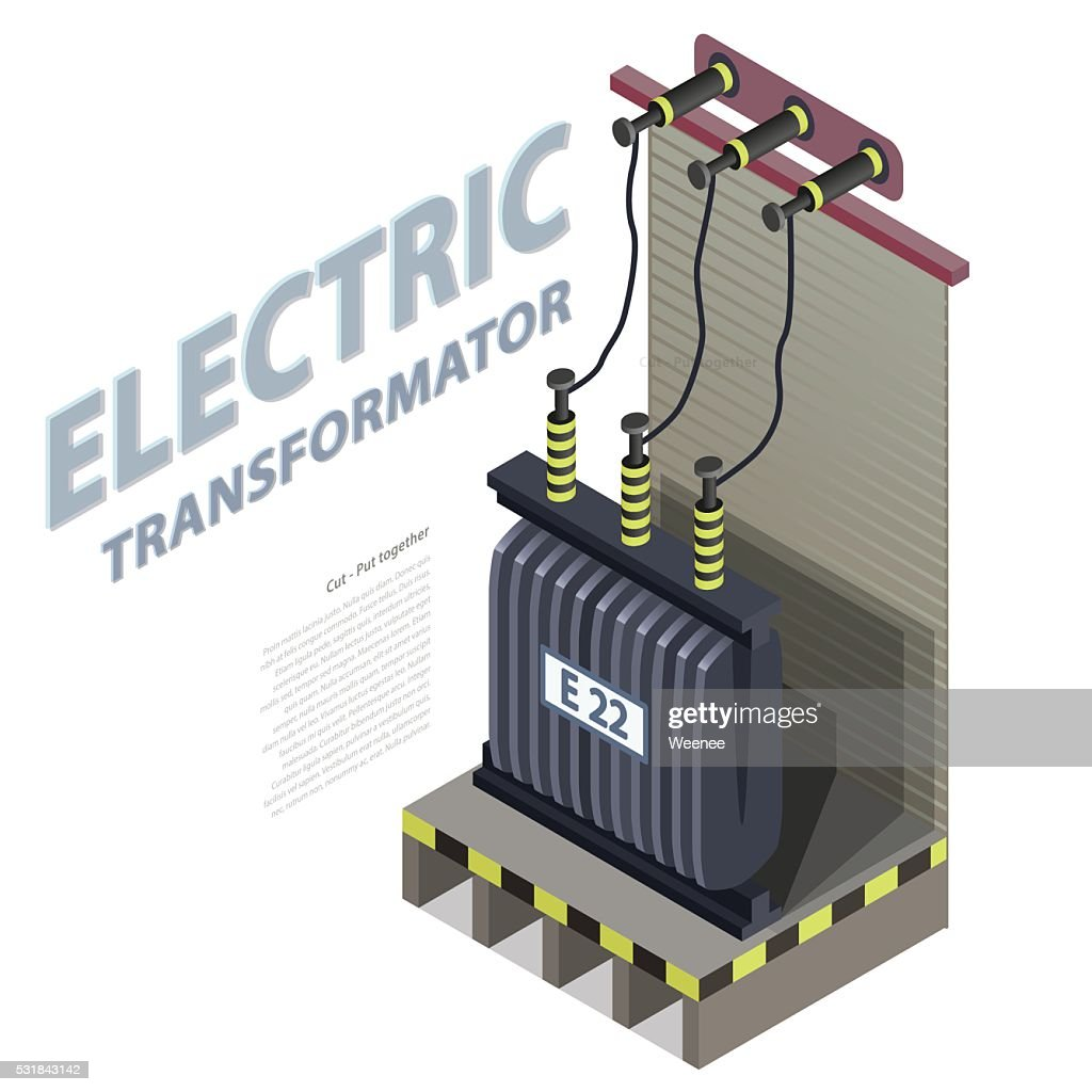Electric transformer isometric building info graphic. High-voltage power station.