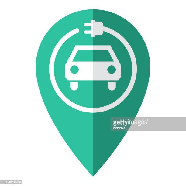 electric vehicle charging map pin icon - plugging in stock illustrations