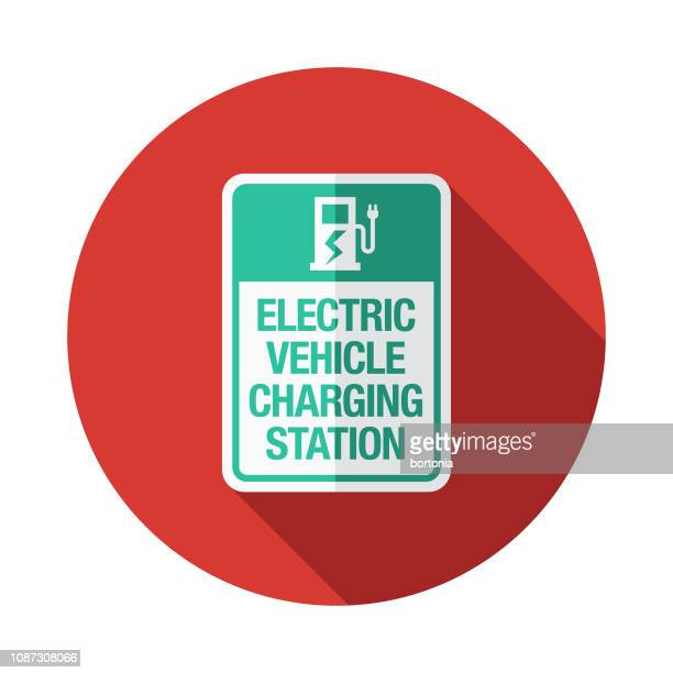 electric vehicle charging station icon - fuel pump stock illustrations, clip art, cartoons, & icons