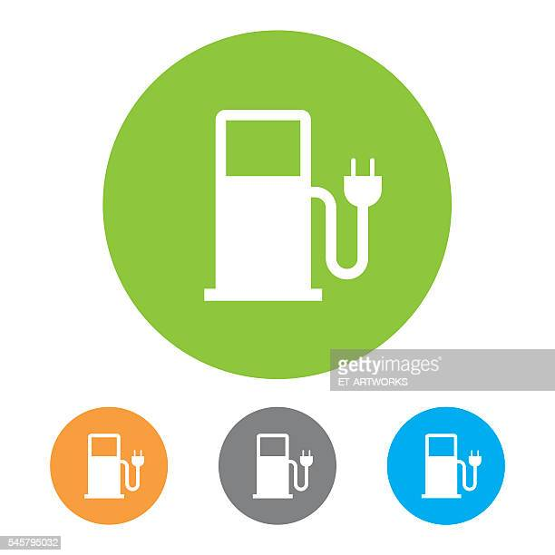 electric vehicle charging station icon - fuel station stock illustrations, clip art, cartoons, & icons