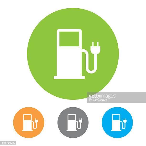 ilustraciones, imágenes clip art, dibujos animados e iconos de stock de electric vehicle charging station icon - vehículo eléctrico