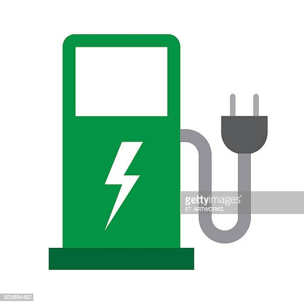 Electric Vehicle Charging Station Vector Art And Graphics