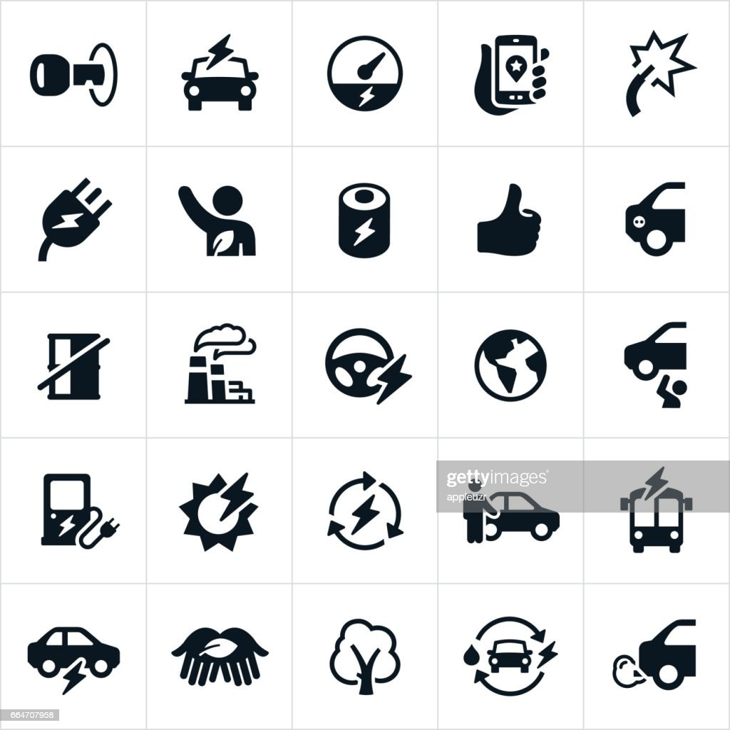 Electric Vehicle Icons : stock illustration