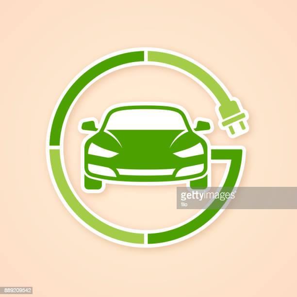 elektro-fahrzeug-symbol - aufladen stock-grafiken, -clipart, -cartoons und -symbole