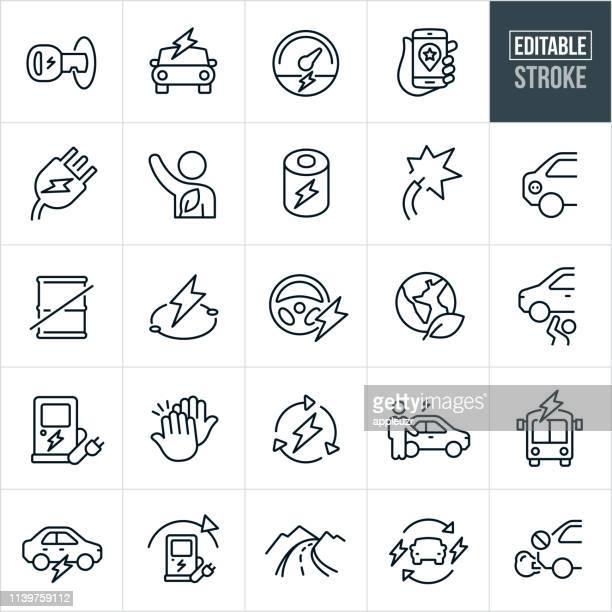 electric vehicle thin line icons - editable stroke - hybrid car stock illustrations, clip art, cartoons, & icons