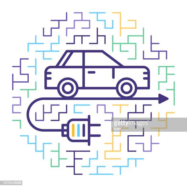 Electric Vehicles Line Icon Illustration