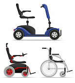 electric wheelchair for disabled people stock vector illustration