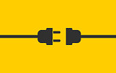 Electric wire Plug and Socket unplugged icon symbol. Internet connection error 404 logo sign. Vector illustration image. Isolated on yellow background.