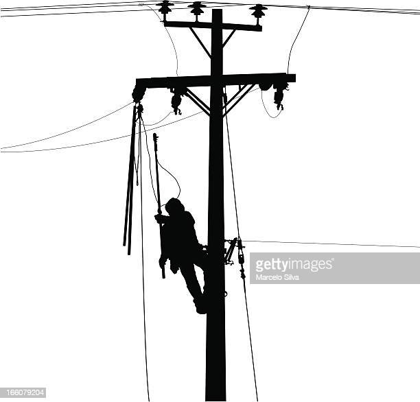 electric worker and power lines silhouette - power outage stock illustrations, clip art, cartoons, & icons