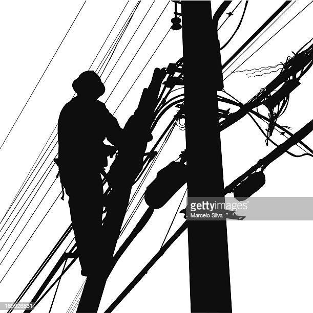 electric worker silhouette - steel cable stock illustrations