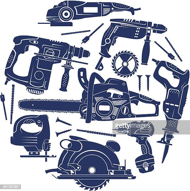 electric working tools set - power tool stock illustrations, clip art, cartoons, & icons