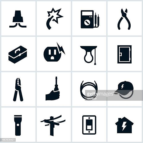 electrical and electrician icons - sparks stock illustrations, clip art, cartoons, & icons