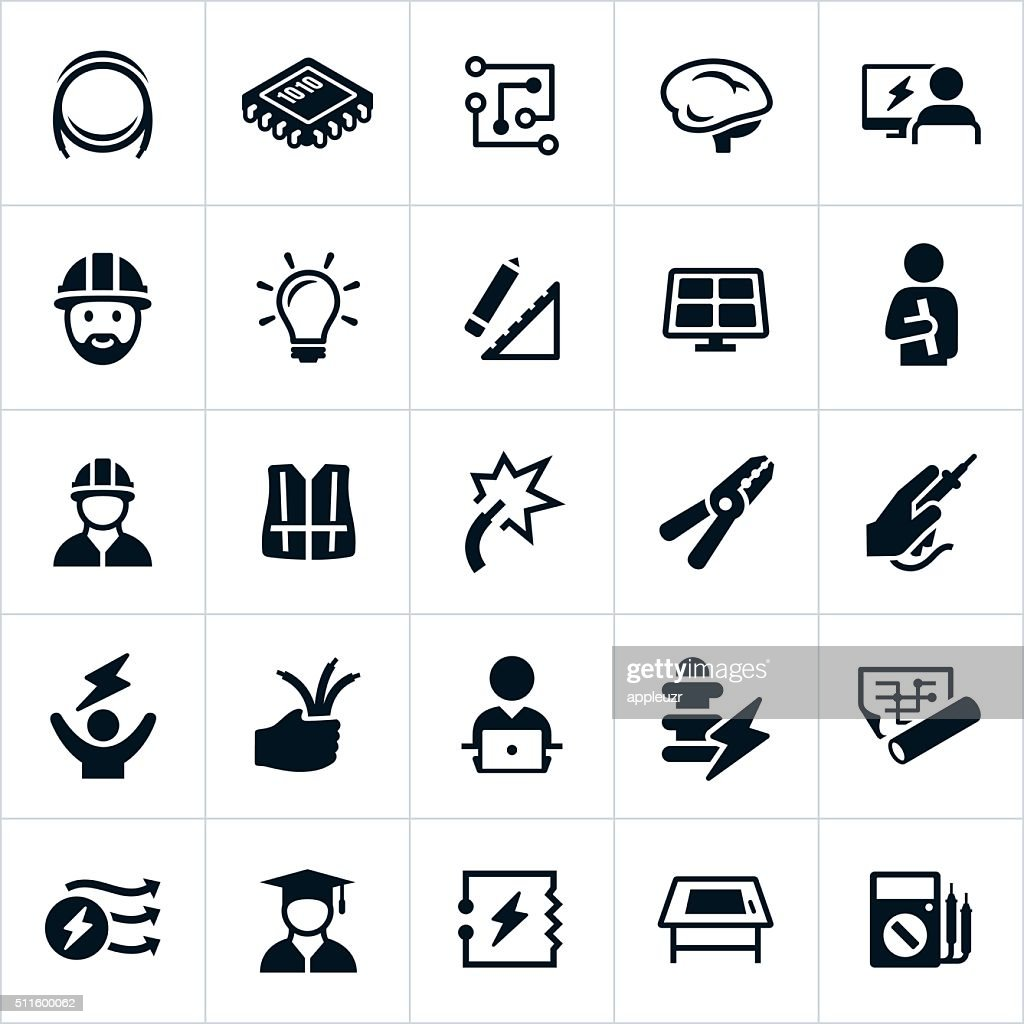Electrical And Electronics Engineering Icons Vector Art Getty Images