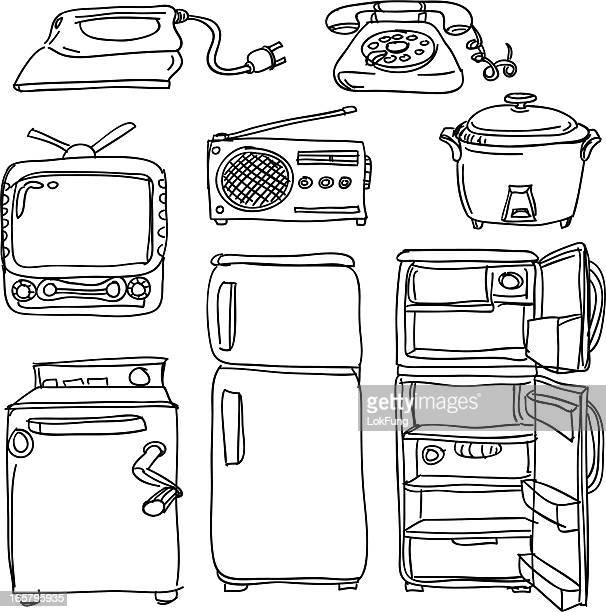 electrical appliances in sketch style - iron appliance stock illustrations, clip art, cartoons, & icons
