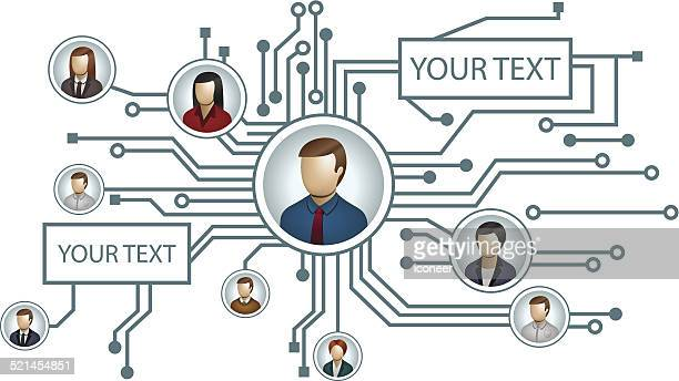 Electrical circuit with people icons and copy text space