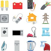 Electrical energy in our lives, icons and characters.