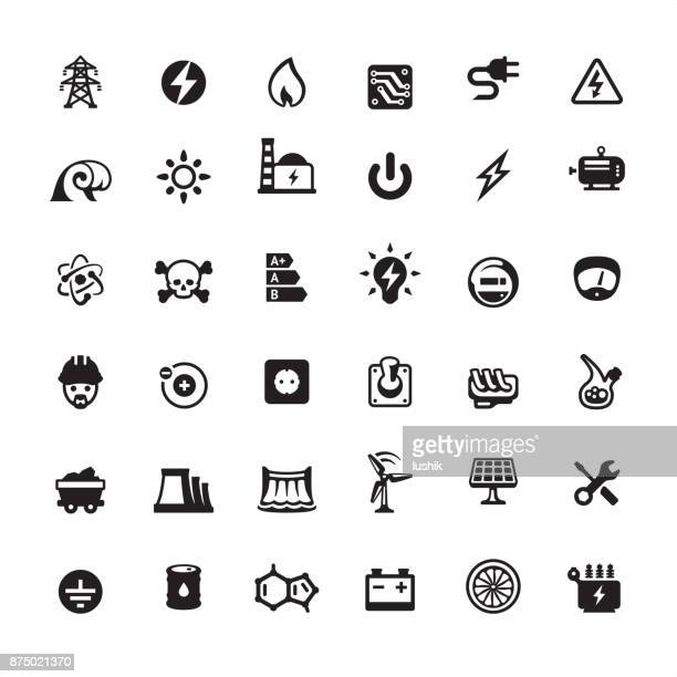 electrical equipment & electronics industry - icon set - electricity stock illustrations, clip art, cartoons, & icons