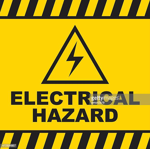 electrical hazard warning sign - danger stock illustrations
