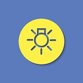 Electrical light with rays simple vector hmi dashboard flat icon