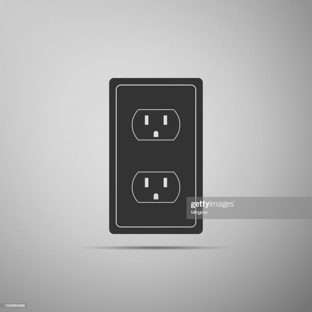 Electrical outlet in the USA icon isolated on grey background. Power socket. Flat design. Vector Illustration
