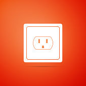 Electrical outlet in the USA icon isolated on orange background. Power socket. Flat design. Vector Illustration