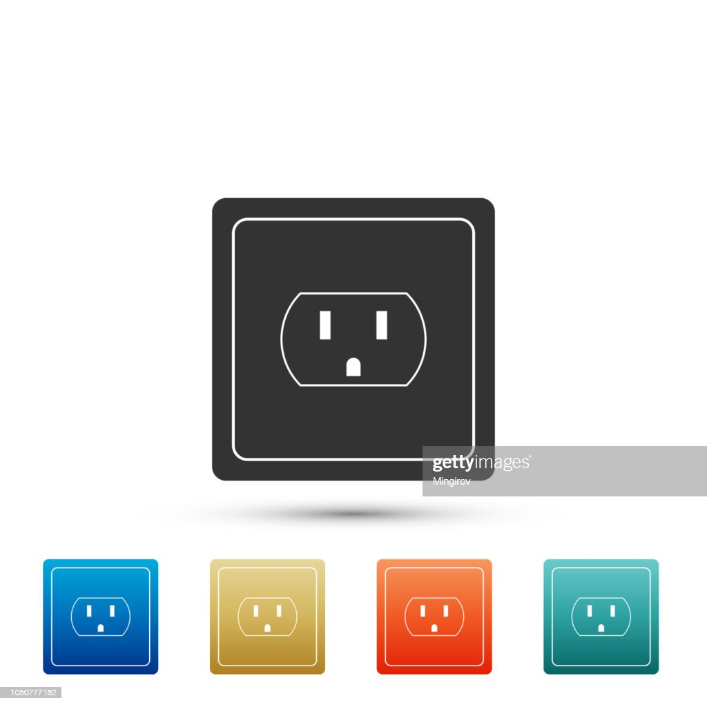 Electrical outlet in the USA icon isolated on white background. Power socket. Set elements in colored icons. Flat design. Vector Illustration