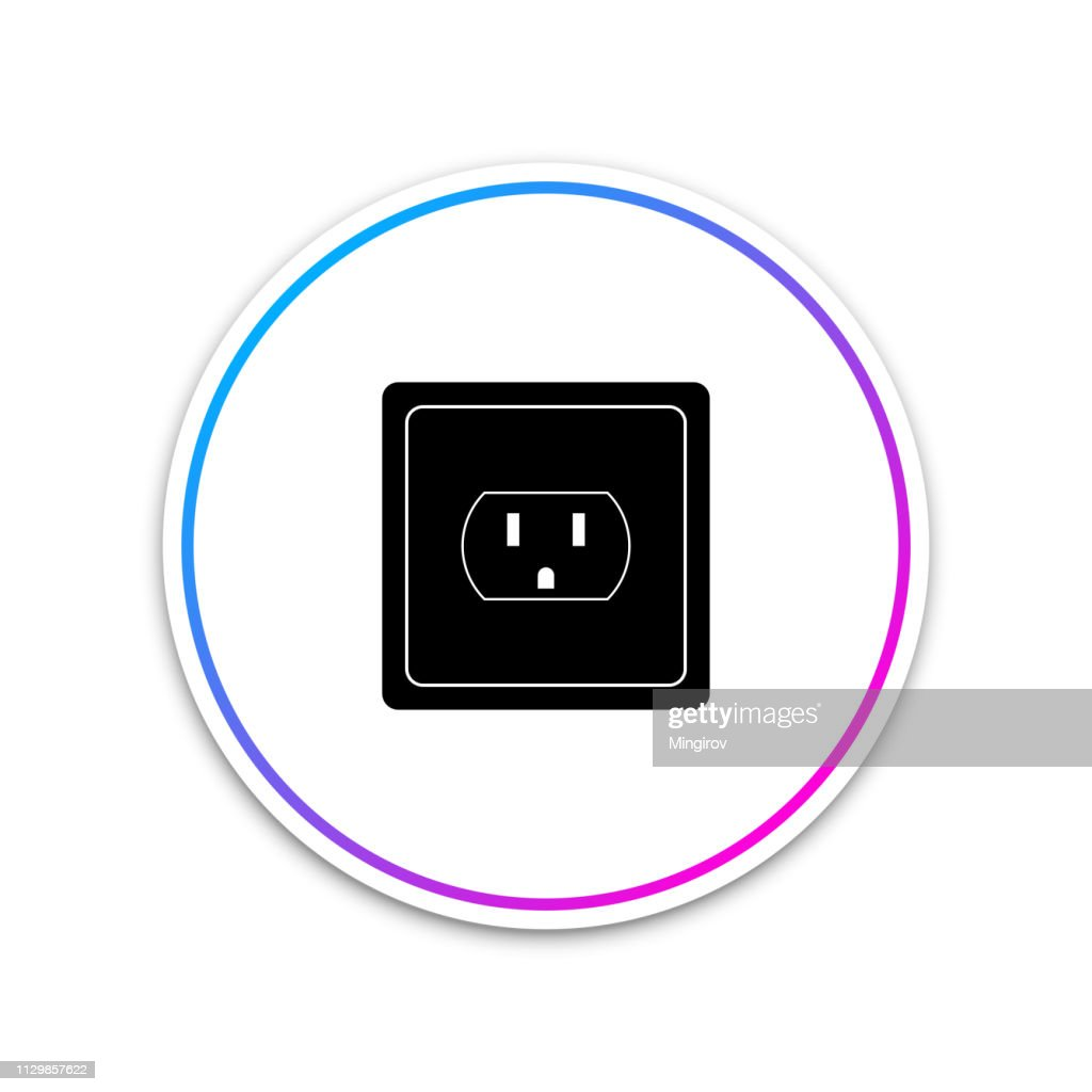 Electrical outlet in the USA icon isolated on white background. Power socket. Circle white button. Vector Illustration