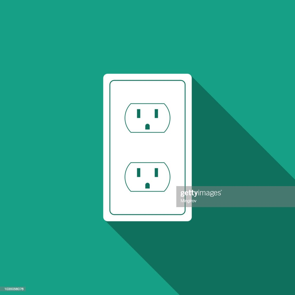 Electrical outlet in the USA icon isolated with long shadow. Power socket. Flat design. Vector Illustration