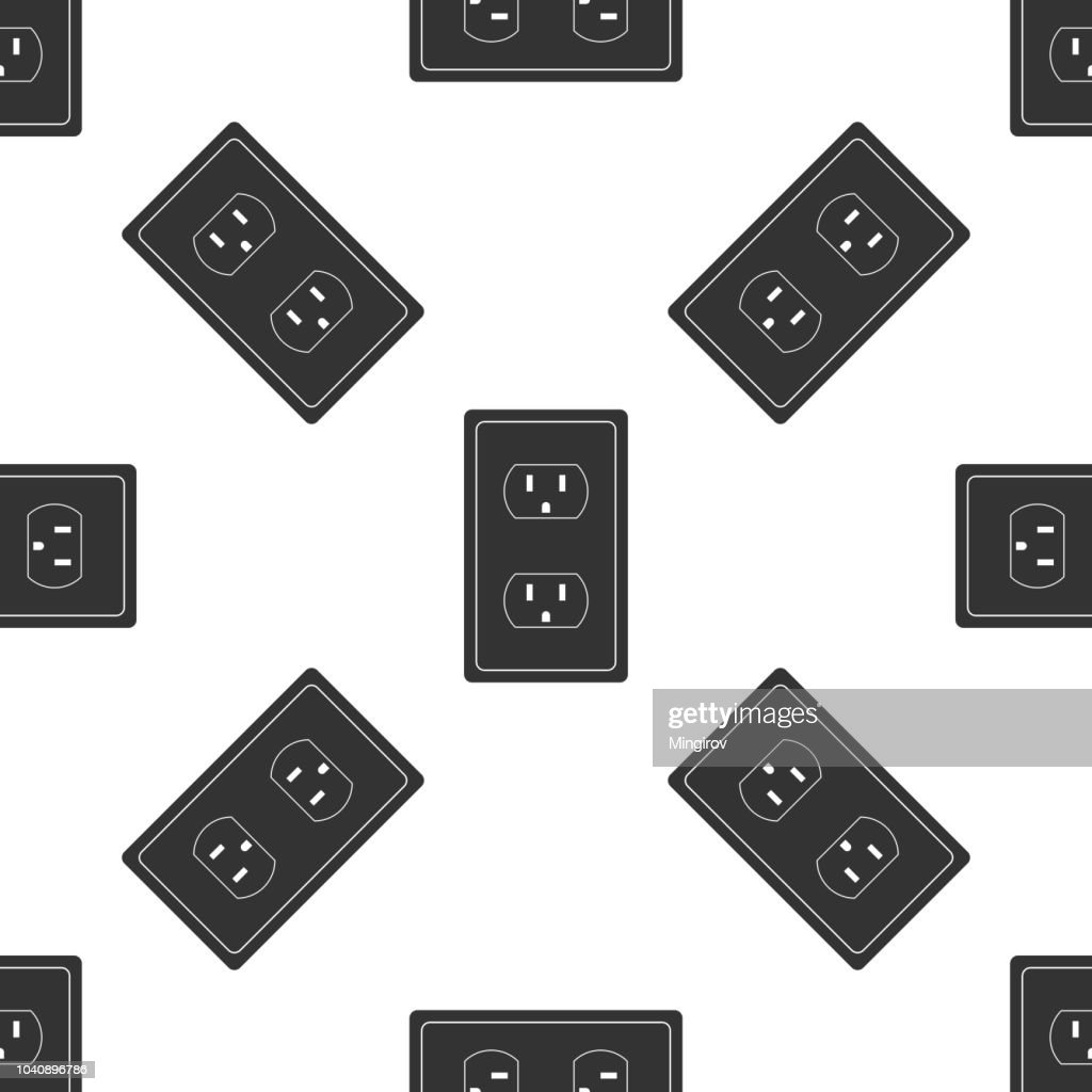 Electrical outlet in the USA icon seamless pattern on white background. Power socket. Flat design. Vector Illustration