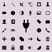 electrical plug icon.  Detailed set of minimalistic icons. Premium graphic design. One of the collection icons for websites, web design, mobile app