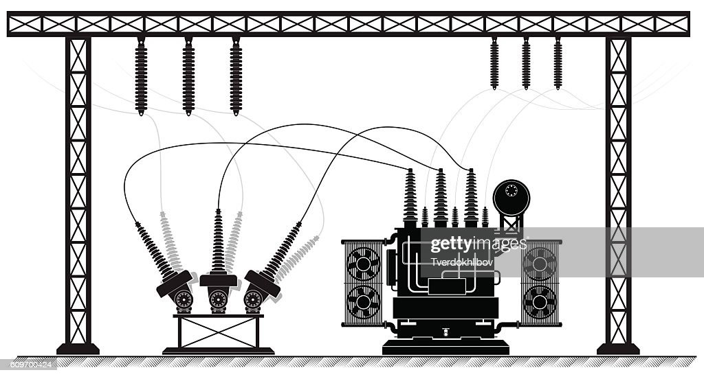 Electrical substation. The high-voltage transformer and switch. Black white