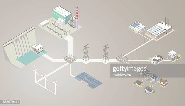 electrical transmission diagram - mathisworks business stock illustrations