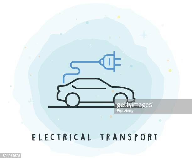 Electrical Transport Icon with Watercolor Patch
