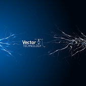 electrical white blue lightnings over dark background
