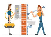 Electrician and plumber man working. Home house repair service.