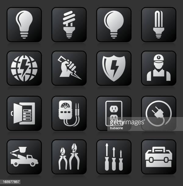ilustraciones, imágenes clip art, dibujos animados e iconos de stock de equipo electricista salida & reparación de conjunto de iconos en blanco y negro - electricista