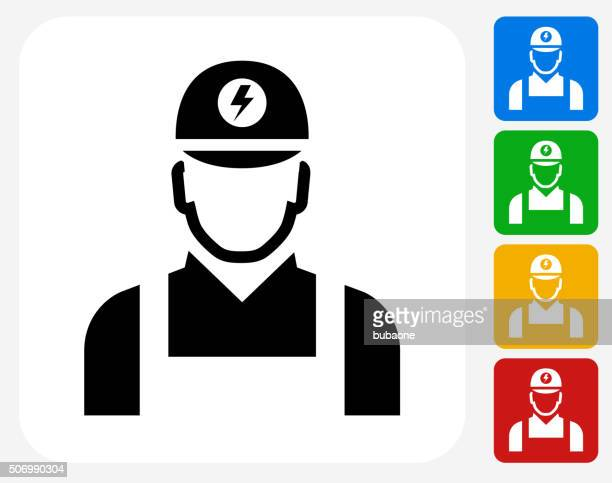 ilustraciones, imágenes clip art, dibujos animados e iconos de stock de electricista plano iconos de diseño gráfico - electricista