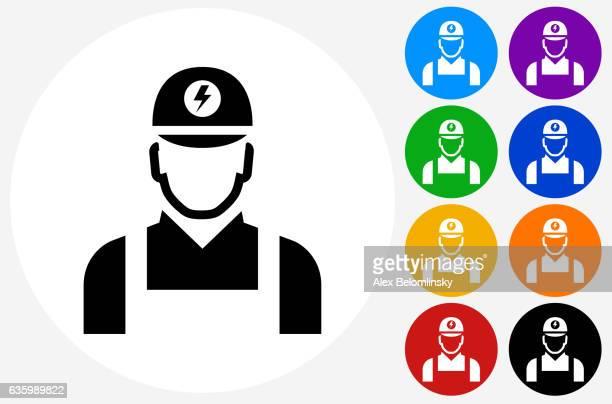 ilustraciones, imágenes clip art, dibujos animados e iconos de stock de electrician icon on flat color circle buttons - electricista