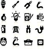 Electrician icons set - Elegant series