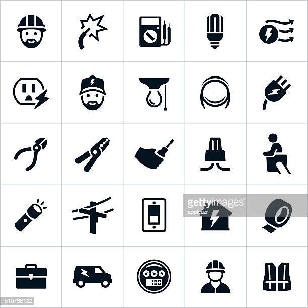 electrician icons - cable stock illustrations, clip art, cartoons, & icons