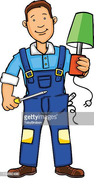 ilustraciones, imágenes clip art, dibujos animados e iconos de stock de lámpara de electricista - electricista