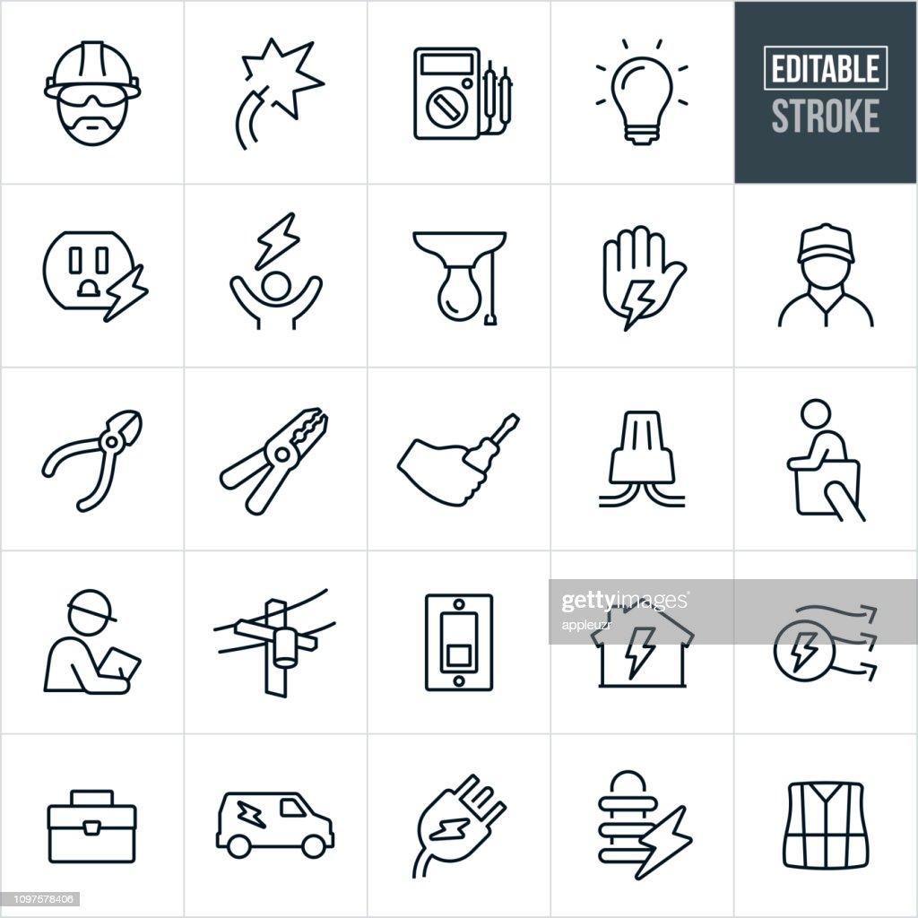 Elektriker linje ikoner - redigerbar Stroke : Illustrationer