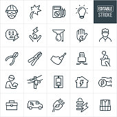 Electrician Line Icons - Editable Stroke
