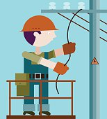 Electrician making repairs at a power pole