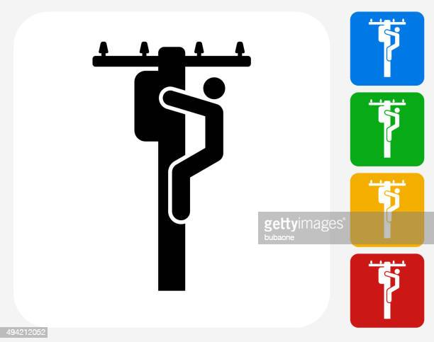 electrician on pole icon flat graphic design - power outage stock illustrations, clip art, cartoons, & icons