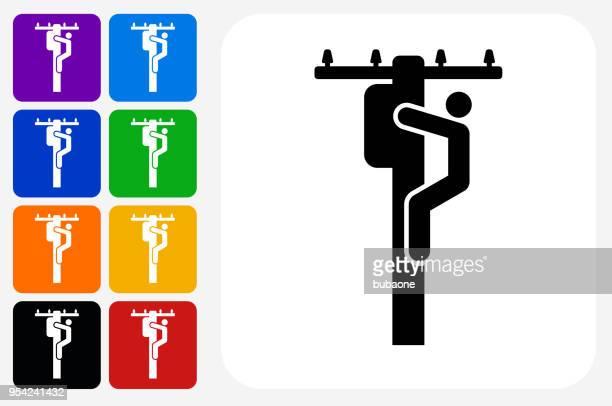 ilustraciones, imágenes clip art, dibujos animados e iconos de stock de electricista en polo icono cuadrado botón set - electricista