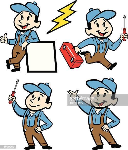 ilustraciones, imágenes clip art, dibujos animados e iconos de stock de electricista reparador con diferentes herramientas y los puestos de trabajo - electricista