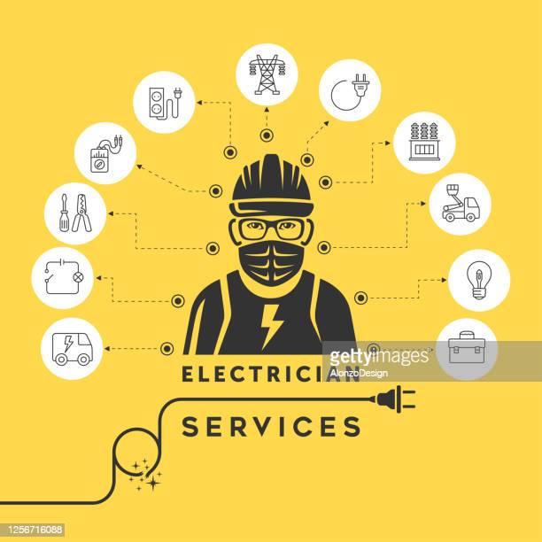 electrician services concept design. coronavirus covid-19 2019-ncov disease outbreak concept. - heading the ball stock illustrations