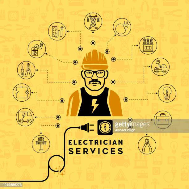 electrician services concept design. - heading the ball stock illustrations