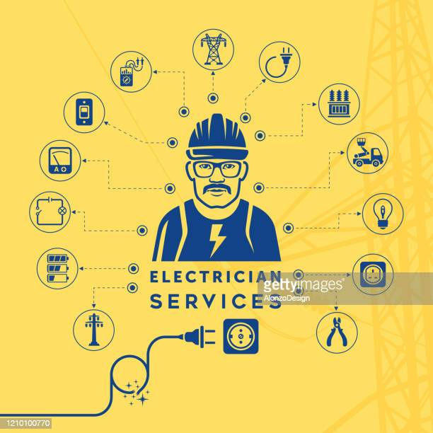 electrician services concept - heading the ball stock illustrations